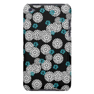 Sakura black tiffany blue flowers floral pattern barely there iPod cases