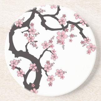 Sakura blanco - diseño del japonés posavasos de arenisca