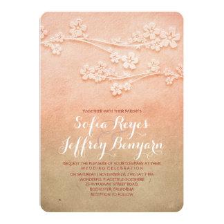 "Sakura blossoms pink ombre wedding invites 5"" x 7"" invitation card"
