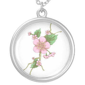 Sakura Blossoms Silver Plated Necklace