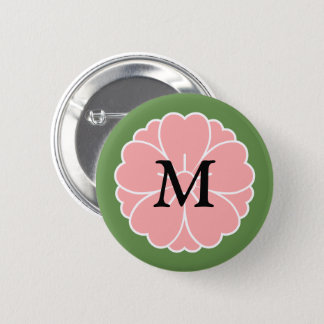 Sakura Cherry Blossom Crest: Monogram Button