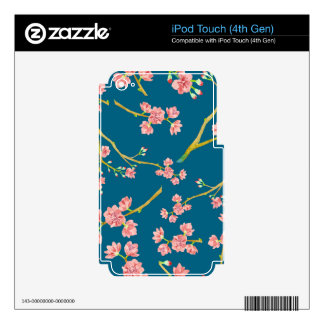 Sakura Cherry Blossom Print on Blue Decals For iPod Touch 4G