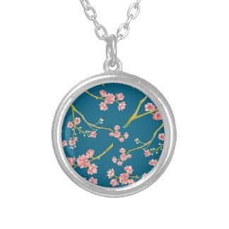 Sakura Cherry Blossom Print on Blue Silver Plated Necklace