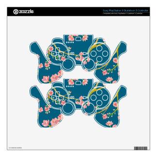 Sakura Cherry Blossom Print on Blue Skin For PS3 Controller