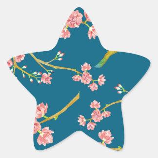 Sakura Cherry Blossom Print on Blue Star Sticker