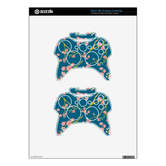 Sakura Cherry Blossom Print on Blue Xbox 360 Controller Skins