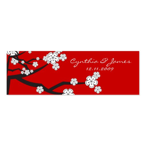 Sakura Cherry Blossoms Asian Wedding DIY Gift Tags Mini Business Card
