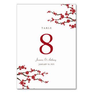 Sakura Cherry Blossoms Asian Wedding Table Number Card