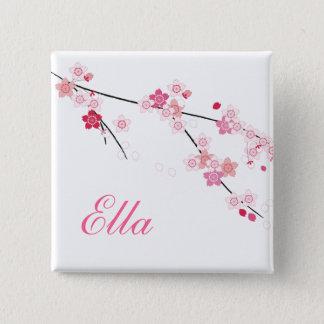 Sakura Cherry Blossoms Buttom with Custom Name Pinback Button