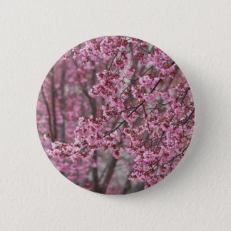 Sakura Cherry Blossoms Flowing Pink Button