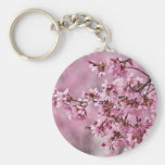 Sakura Cherry Blossoms Pastel Pink Layers Basic Round Button Keychain