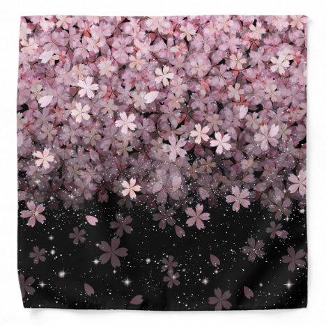Sakura Cherry Blossoms Pink & Black Flowers Bandana