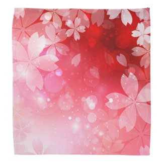 Sakura Cherry Blossoms Red Pink White Flowers Bandana