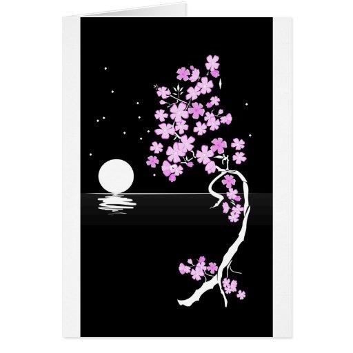 Sakura de la noche tarjetas