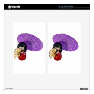 Sakura Doll with Umbrella Skins For Kindle Fire