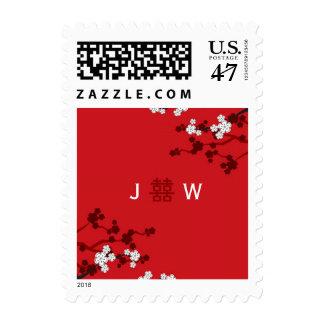 Sakura Double Happiness Chinese Wedding Stamps