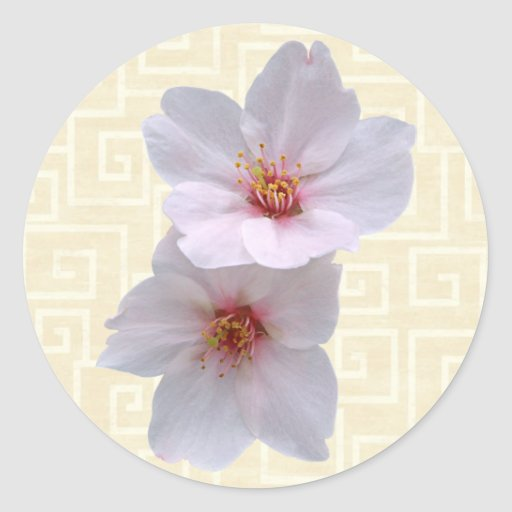 Sakura en beige pegatina redonda