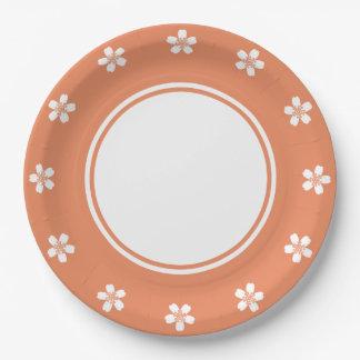 Sakura encantador en la placa de papel coralina platos de papel