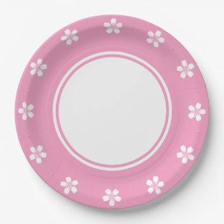 Sakura encantador en la placa de papel del rosa platos de papel