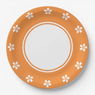 Sakura encantador en placa de papel anaranjada platos de papel