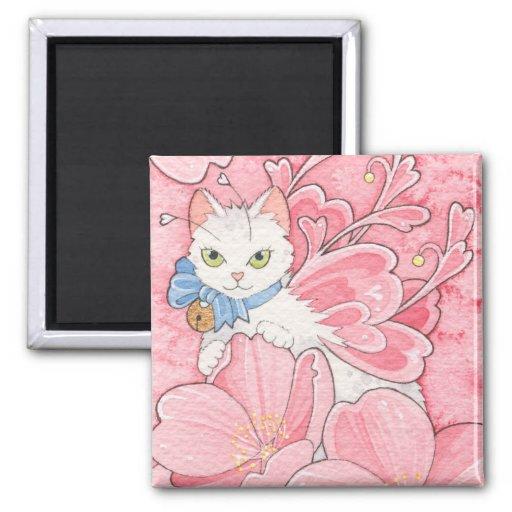 Sakura Fairy Cat notecard Refrigerator Magnets