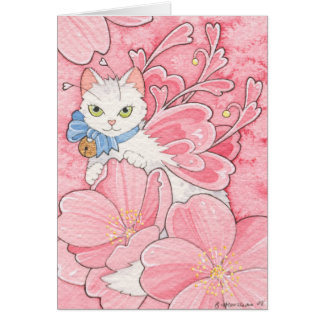 Sakura Fairy Cat notecard Stationery Note Card