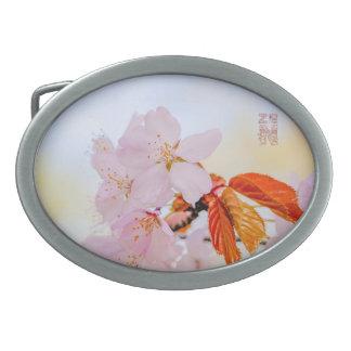 Sakura - flor de cerezo japonesa hebillas de cinturon ovales