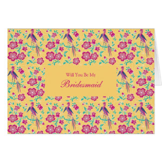 Sakura Floral Batik Be My Bridesmaid Invitation