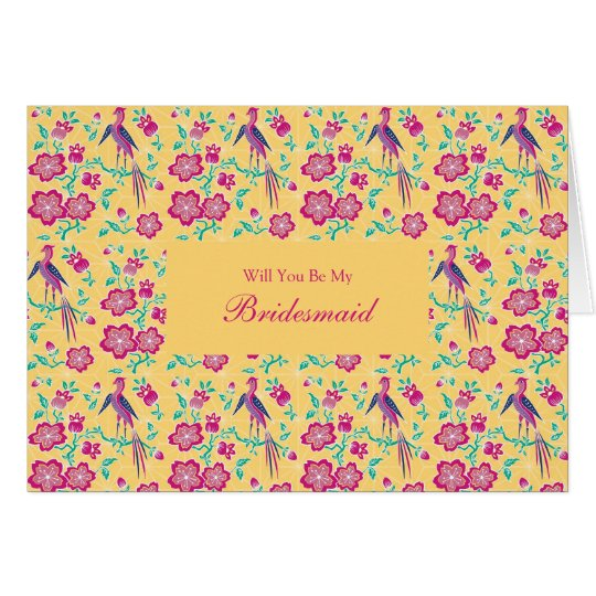 Sakura Floral Batik Be My Bridesmaid Invitation