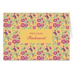 Sakura Floral Batik Be My Bridesmaid Invitation Greeting Card