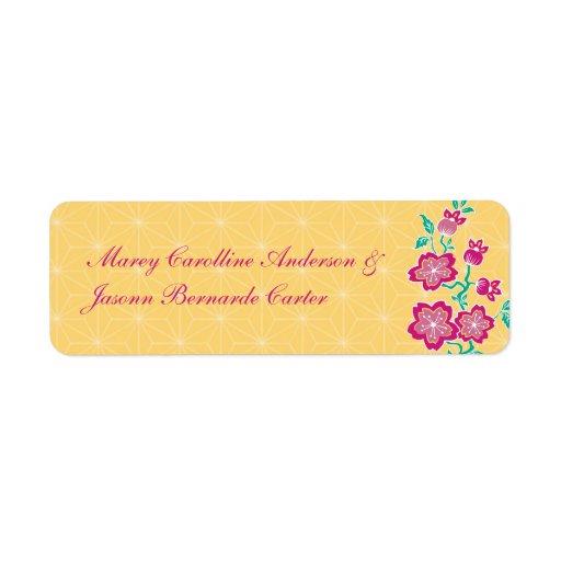 Sakura Floral Batik Bride & Groom Sticker Return Address Label