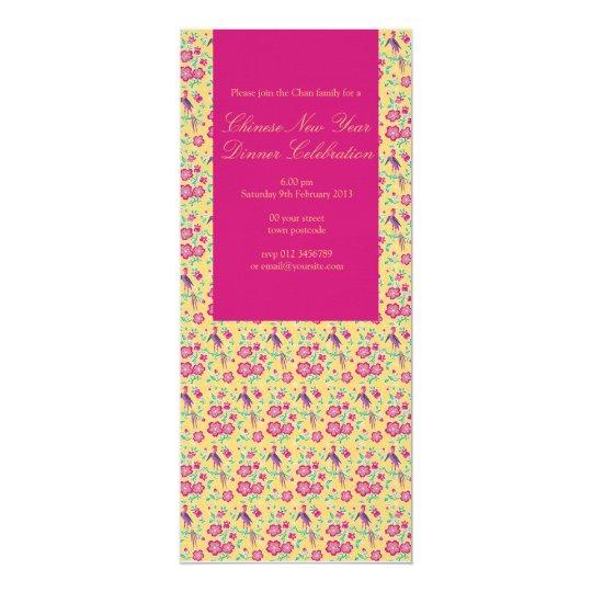 Sakura Floral Batik Chinese New Year Invitation 3
