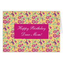 Sakura Floral Batik Happy Birthday Mom Card