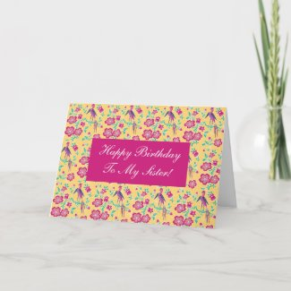 Sakura Floral Batik Happy Birthday Sister Card