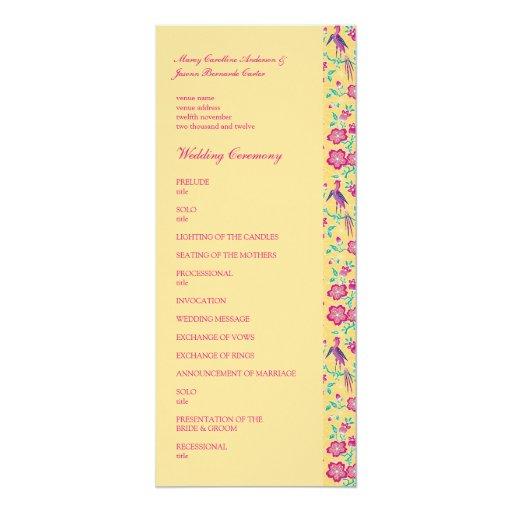 Sakura Floral Batik Wedding Program 4x9.25 Paper Invitation Card