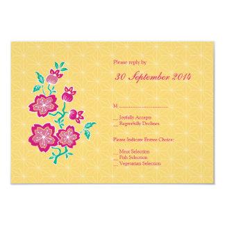 Sakura Floral Batik Wedding RSVP Card