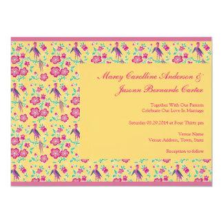 Sakura Floral Batik yellow Large Wedding Invite
