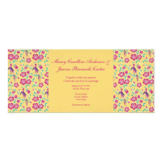 Sakura Floral Batik yellow Long Wedding Invitation