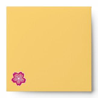 Sakura Floral Batik yellow Square Envelope