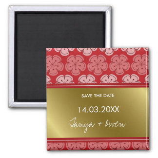 Sakura Flowers and Gold Asian Save The Date Magnet