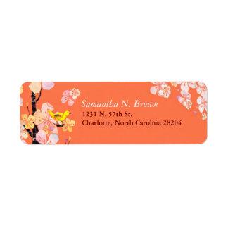 Sakura Flowers & Cute Bird Address Labels