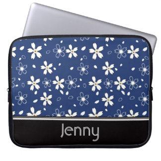 Sakura Flowers Pattern, Navy Blue Laptop Sleeve