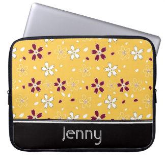 Sakura Flowers Pattern, Yellow Laptop Sleeve