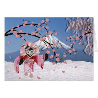 Sakura Geisha Bird in the Snow Cherry Blossoms Card