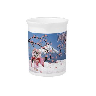 Sakura Geisha Bird in the Snow Cherry Blossoms Pitcher