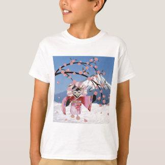 Sakura Geisha Bird in the Snow Cherry Blossoms T-Shirt