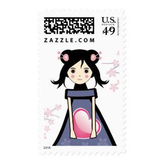 Sakura Girl Postage Stamp