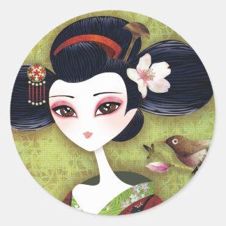 Sakura Girl Round Sticker
