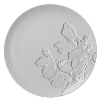 Sakura grabó en relieve la placa de la flora platos para fiestas