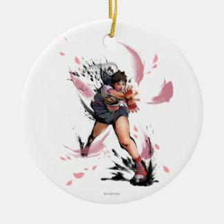 Sakura Hadoken Double-Sided Ceramic Round Christmas Ornament